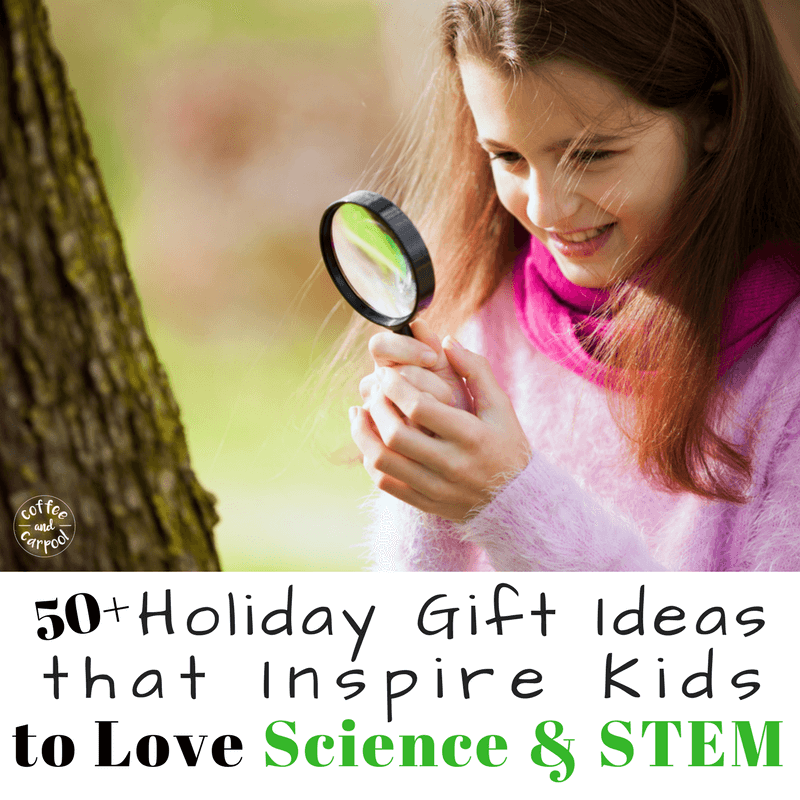 Does your child love science? Or do you want them to learn to love science? This holiday gift guide has over 50 science themed holiday gift ideas for kids that they will love. www.coffeeandcarpool.com #holidaygiftguide #holidaygiftidea #kidsgiftideas #kidsgifts #scienceforkids #stemforkids #stemgifts