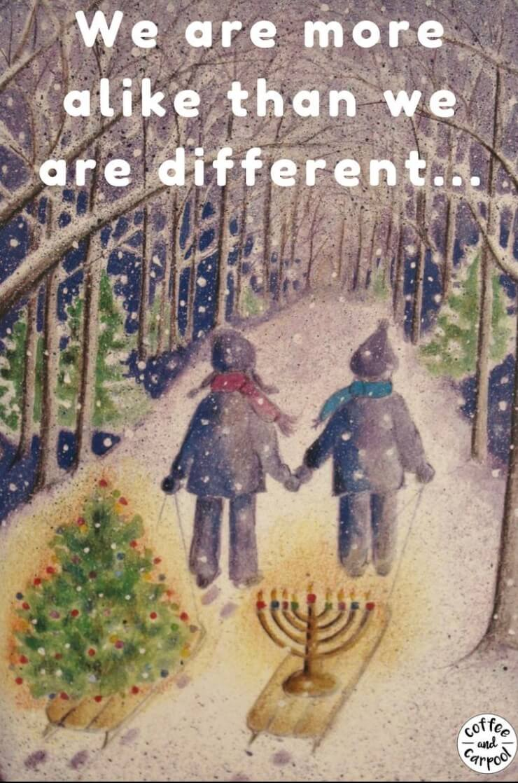 Christmas and Hanukkah are more alike than they are different. Interfaith families can celebrate both in meaningful ways. #interfaithfamilies