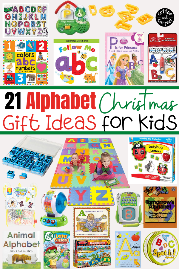Easter basket ideas for kids who are learning their letters. Have your Easter Bunny bring your kids these alphabet gifts when they're learning their abcs. #easter #easterbasketideas #easterbasket #giftideas #alphabet #abcs #learningletters #giftguide