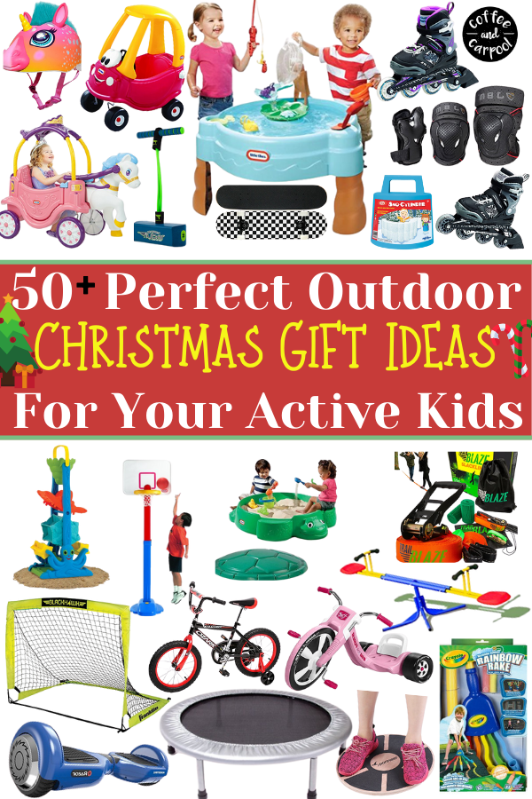 Holiday gifts for kids to encourage kids to be more active outside #getactive #getkidsactive #getkidsoutside #coffeeandcarpool #holidaygiftguides #holidaygifts #giftsforkids #holiday #coffeeandcarpool