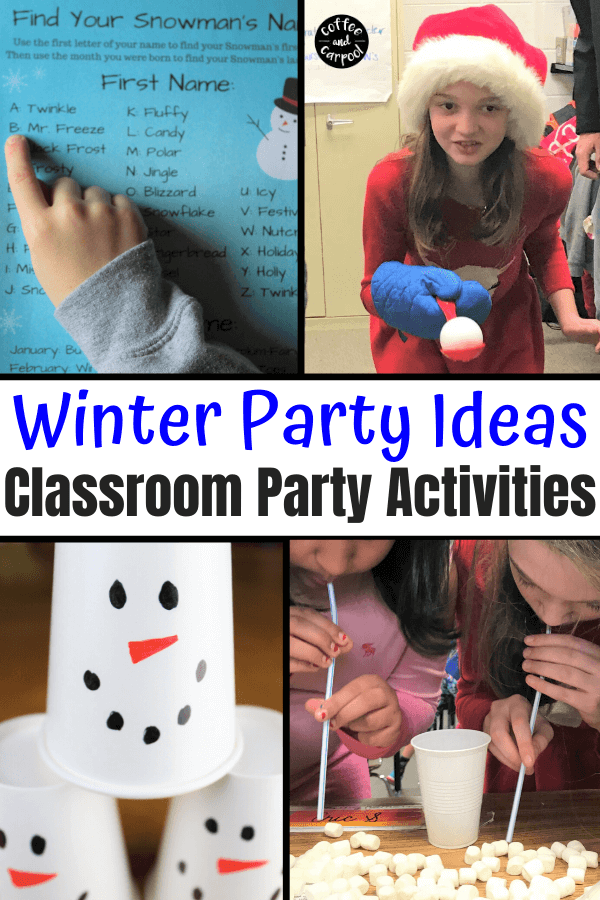 Winter Party Ideas are perfect for classroom winter holiday parties. PTA parties, room moms, class parents and teachers will love these snowman themed activities. #snowman #snowmancrafts #snowmanactivities #winterholidayparties #winterclassroomparties #snowmanthemedparties #snowmanparty