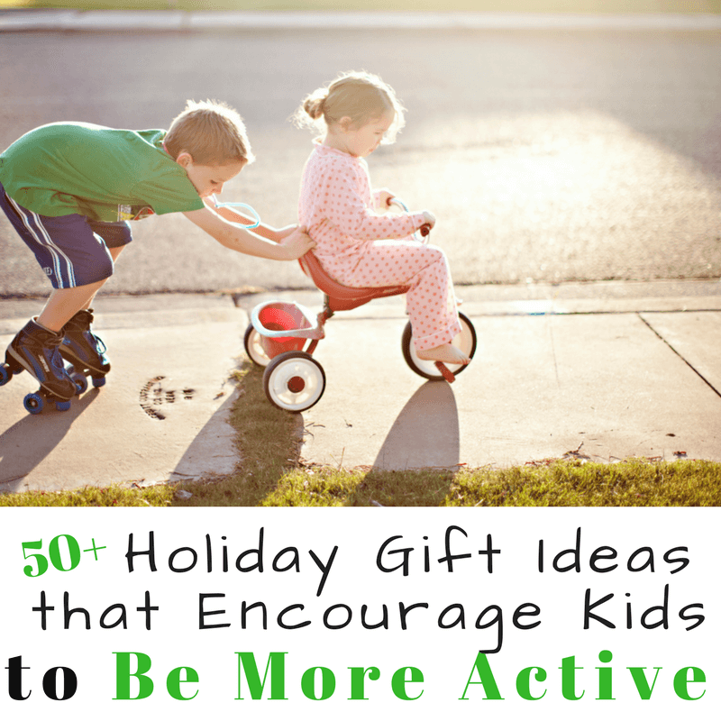 Want to get your kids playing outside? Do you want your kids to be more active? This holiday gift guide with over 50 ideas of holiday gift ideas for kids will encourage them get outside and play. www.coffeeandcarpool.com #holidaygiftguide #giftguide #kidsgiftideas #activekids #kidsholidaygiftideas