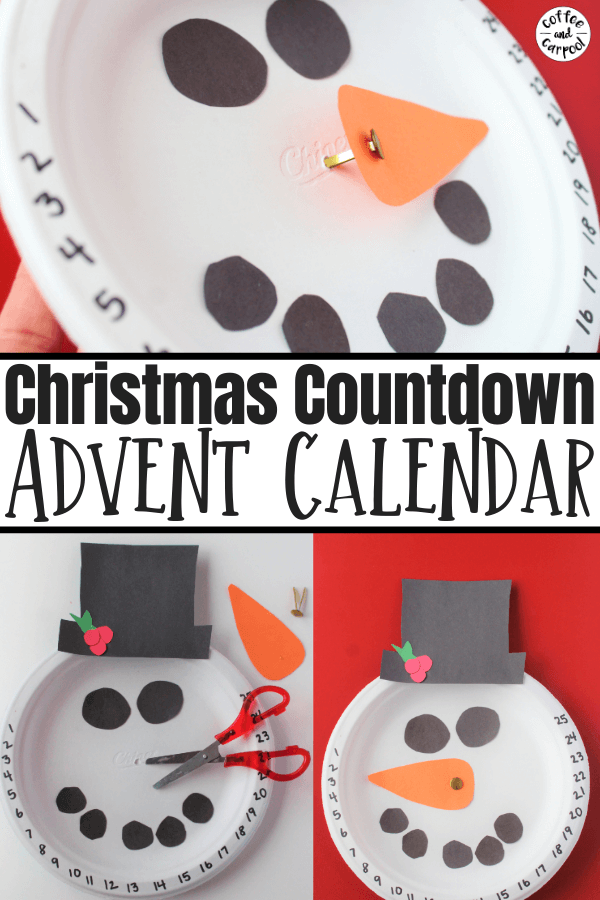 Countdown to Christmas with this advent calendar so kids know how many days are left until Santa comes. And kids can make this Christmas craft themselves as a Christmas activity. #Christmas #Christmasforkids #Christmascountdown #snowmancraft #snowman #Christmasactivitesforkids #Christmascrafts #Christmascraftsforkids #Christmasadventcalendar #homemadeadventcalendar #coffeeandcarpool