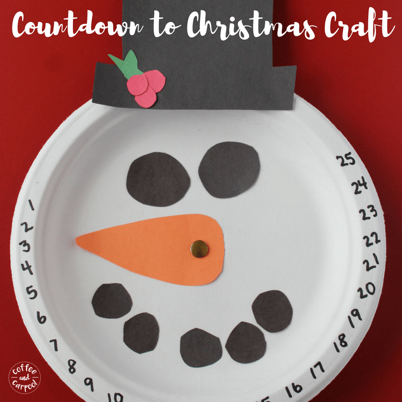 Simple and fun craft to help kids countdown to Christmas #countdowntoChristmas #snowmancraft #Christmascraft