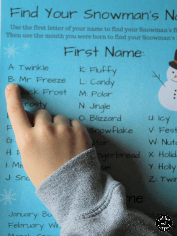 Each kiddo can name their snowman based on their first name and the month they were born in #winterholidayparty #classroomparty #coffeeandcarpool