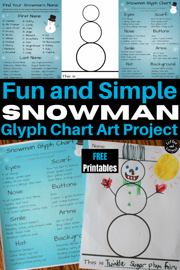 No two glyph snowman projects will ever be the same and they're perfect for winter holiday parties and large group activities #snowmanproject #winterholidayparty #coffeeandcarpool