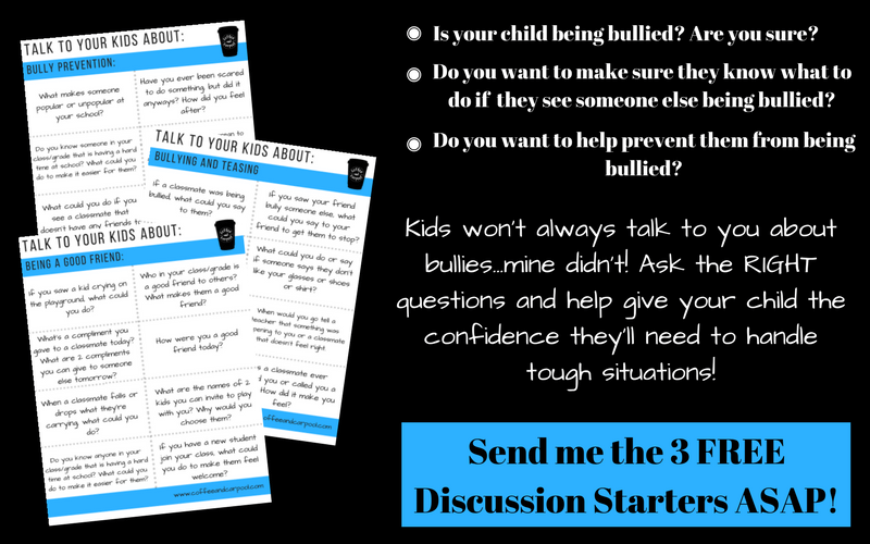 Need to know what and how to talk to your child about bullying and bullying prevention? You need these three free printables. www.coffeeandcarpool.com