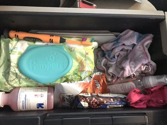 Be prepared for when things go crazy. Keep your glove box filled with stuff you may need. Like children's tylenol and underwear. 24 quick ways to feel less like a sh*tty mom www.coffeeandcarpool.com