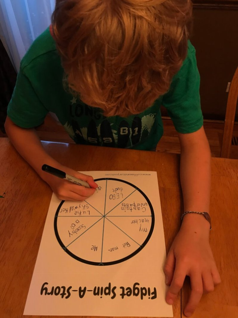 Need ideas to get kids more intersted in writing? Do it with a fidget spinner activity and a free printable. www.coffeeandcarpool.com