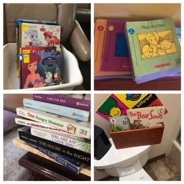 Books everywhere shows your kids that you value reading. They'll become readers if they are surrounded by books and people who read to them. 24 Quick ways to be a better mom www.coffeeandcarpool.com