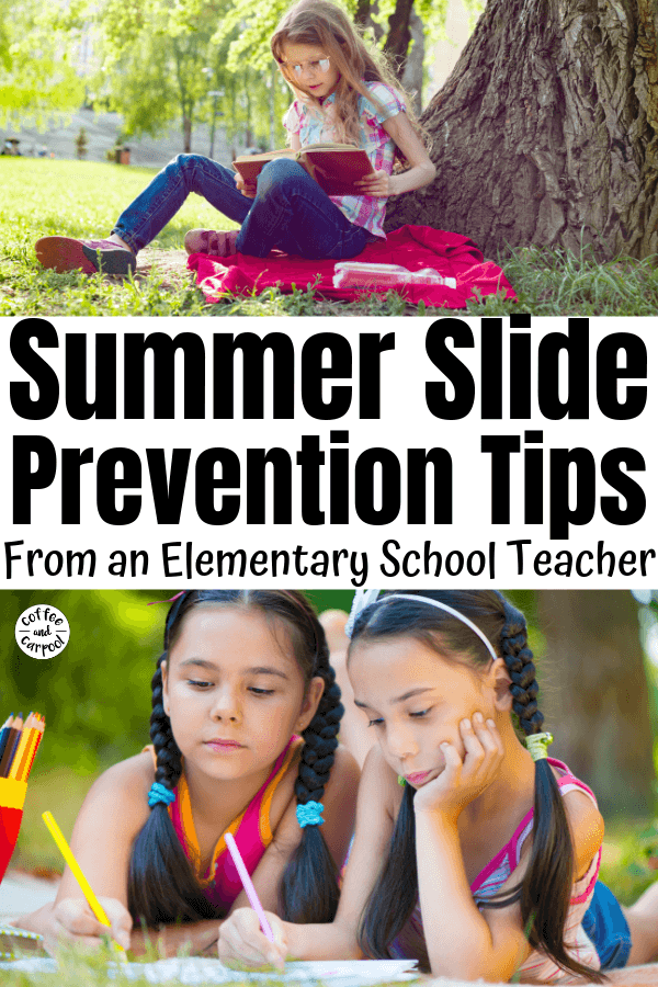 What is summer slide and how to prevent it so we set our kids up for success in the fall. #summerslide #summerlearning #backtoschool #summerlearningloss #summeractivities #campmom #coffeeandcarpool