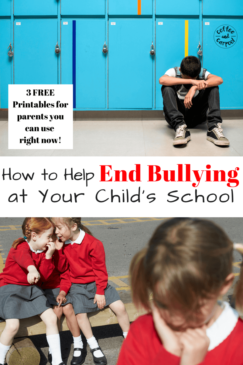 Is there bullying at your child's school. Yes there is. Even if you don't see it. Help stop bullying by doing this one thing now. Free printable to help parents and children handle bullying situations. www.coffeeandcarpool.com