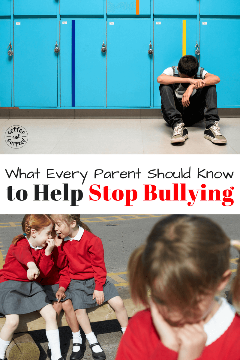 Is your child being bullied? Or seen bullying? Are you sure? Here's what every parent should know to help stop bullying at their child's school. Free Printable included. www.coffeeandcarpool.com