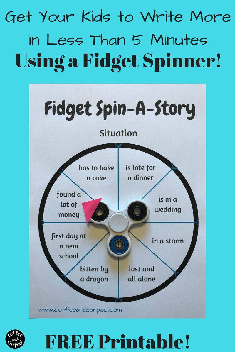 Need a Fidget Spinner diy activity to use in the classroom or to homeschool? Fidget spinner activities and ideas and a free printable to get your kids to write more at www.coffeeandcarpool.com