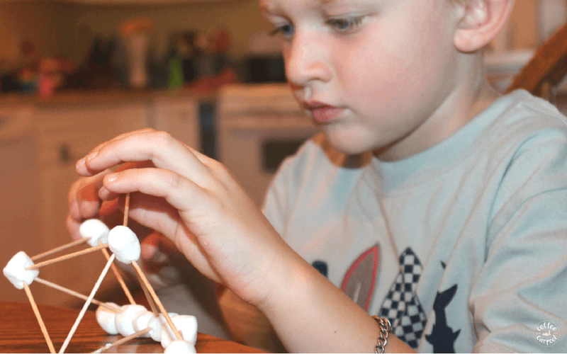 Problem solving skills like building shapes with toothpicks and marshmallows is a great way to encourage problem solving skills for summer learning time and to avoid the dreaded summer slide. #problemsolving #funlearning #building #problemsolving #summerfun #creativelearning #handsonlearning #coffeeandcarpool