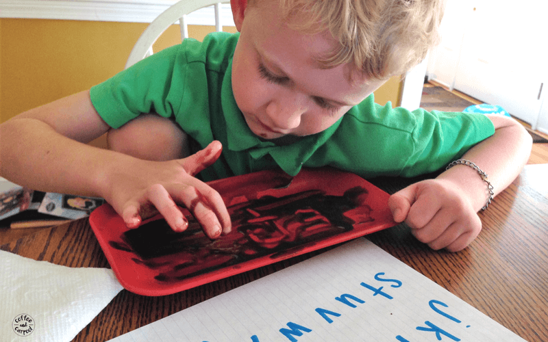 Summer learning doesn't have to be boring or dreaded. Make it fun by having kids write their letters or spelling words into chocolate pudding. #summerlearning #summerfun #writingskills #creativewriting #finemotorskills #coffeeandcarpool