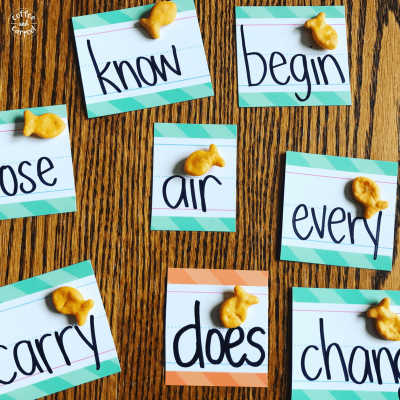 A delicious way to practice sight words this summer is to put a snack or treat on each word. When they read the word, they eat the snack. #summerlearning #summerslide #summerlearningloss #readingskills #sightwords #reading #coffeeandcarpool