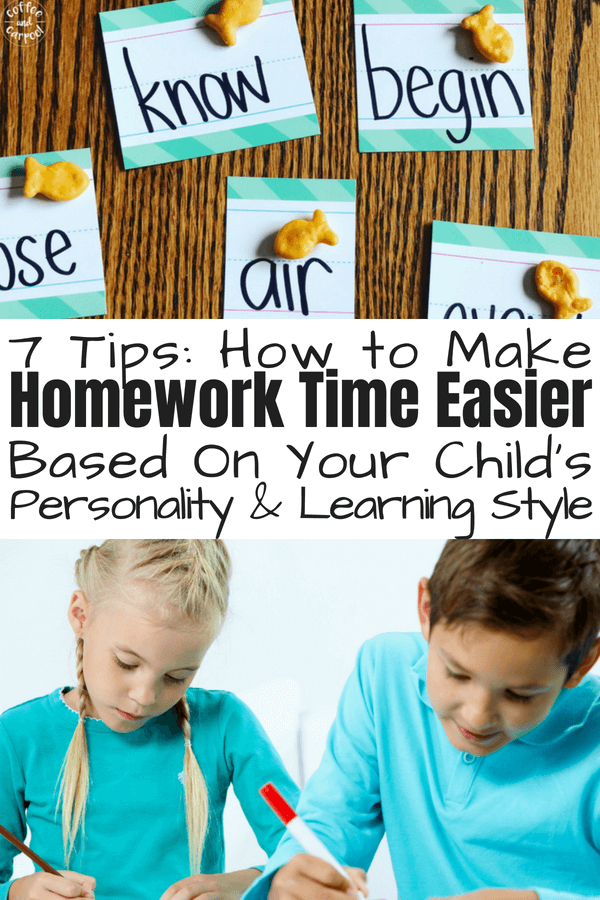 Homework Time Easier with these 7 tips based on your child's personality and learning style #homeworkhelp #homeworktips #homeworkhelp #backtoschooltips #coffeeandcarpool #homework