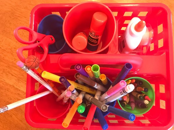 Have a basket with all the supplies they'll need to start and finish their homework is essential to avoid homework hassles. www.coffeeandcarpool.com