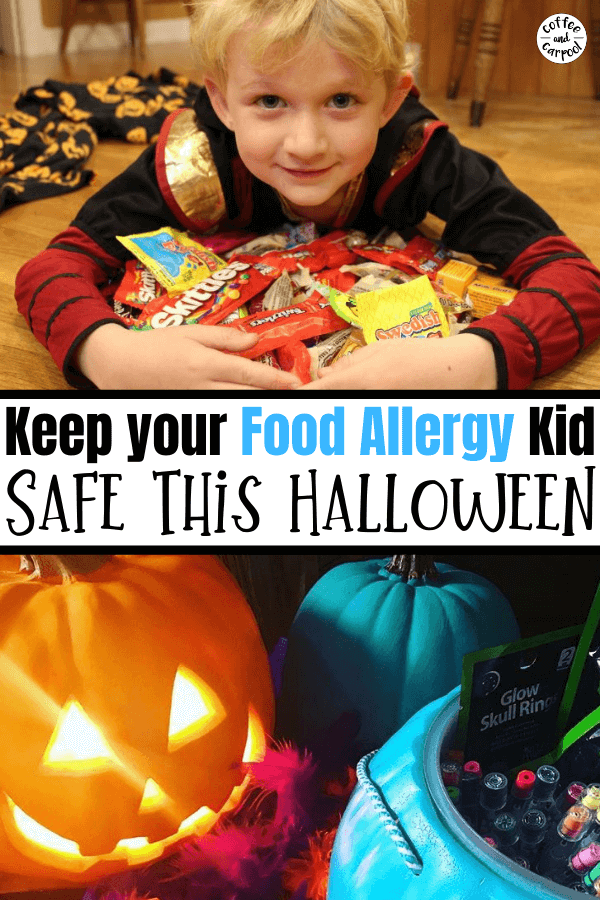 Keeping a food allergy kid safe is hard on the best of days. It's extra hard on Halloween. Here's how you can keep your food allergy kid safe when they're trick or treating on Halloween. #Halloween #foodallergies #foodallergy #epipens #foodallergytrickortreating #tealpumpkin #tealpumpkinproject #Halloweenforfoodallergies #peanutallergy #peanutallergies #coffeeandcarpool