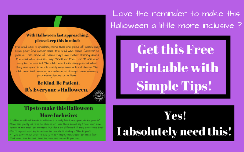 Halloween is for everyone FREE Printable with Tips on how to be kinder and more patient with all the trick or treaters