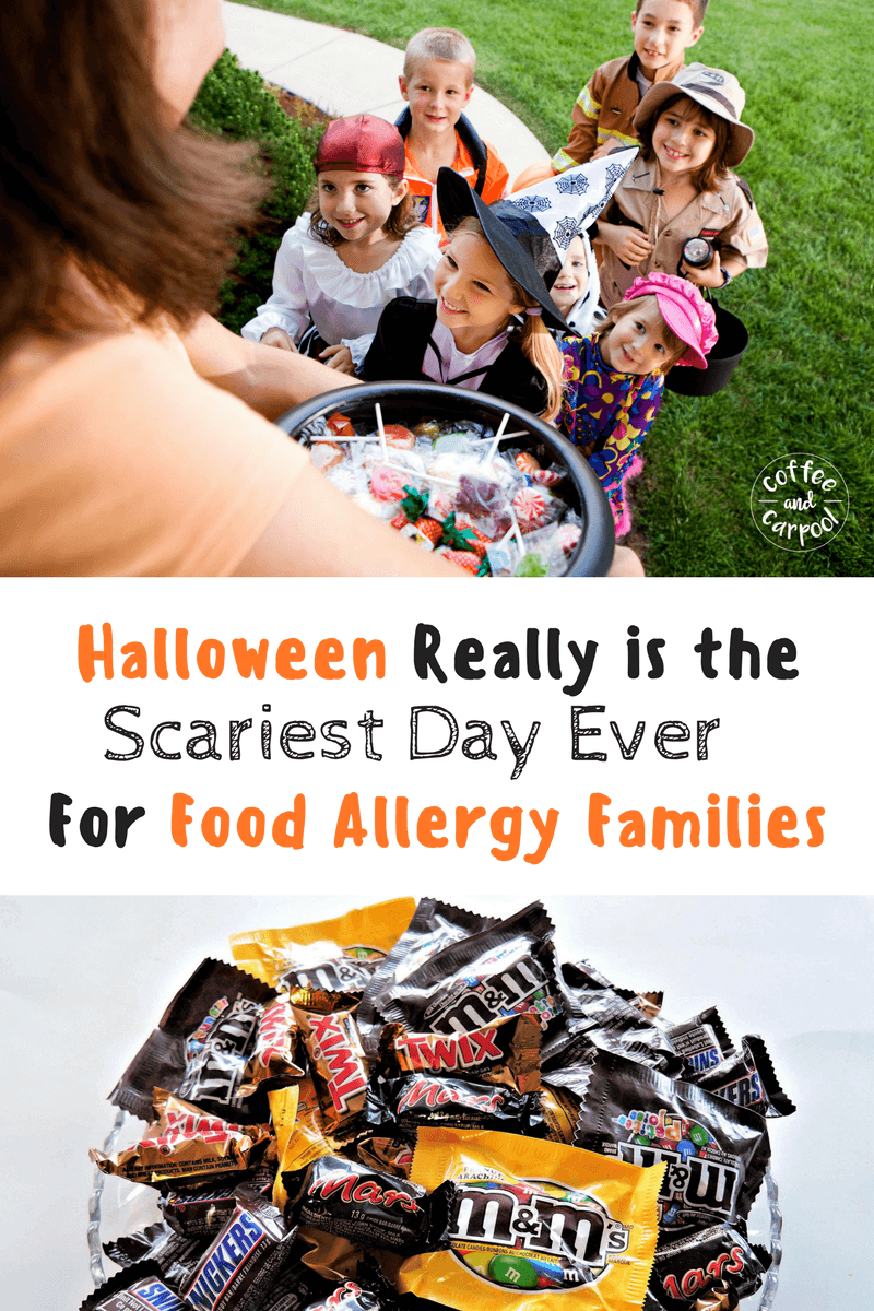 Halloween is scary for food allergy families. But your food allergy kid can safely go trick or treating if you take certain precautions.#foodallergies #foodallergyawareness #tealpumpkinproject #tealpumpkin #foodallergymom #halloween
