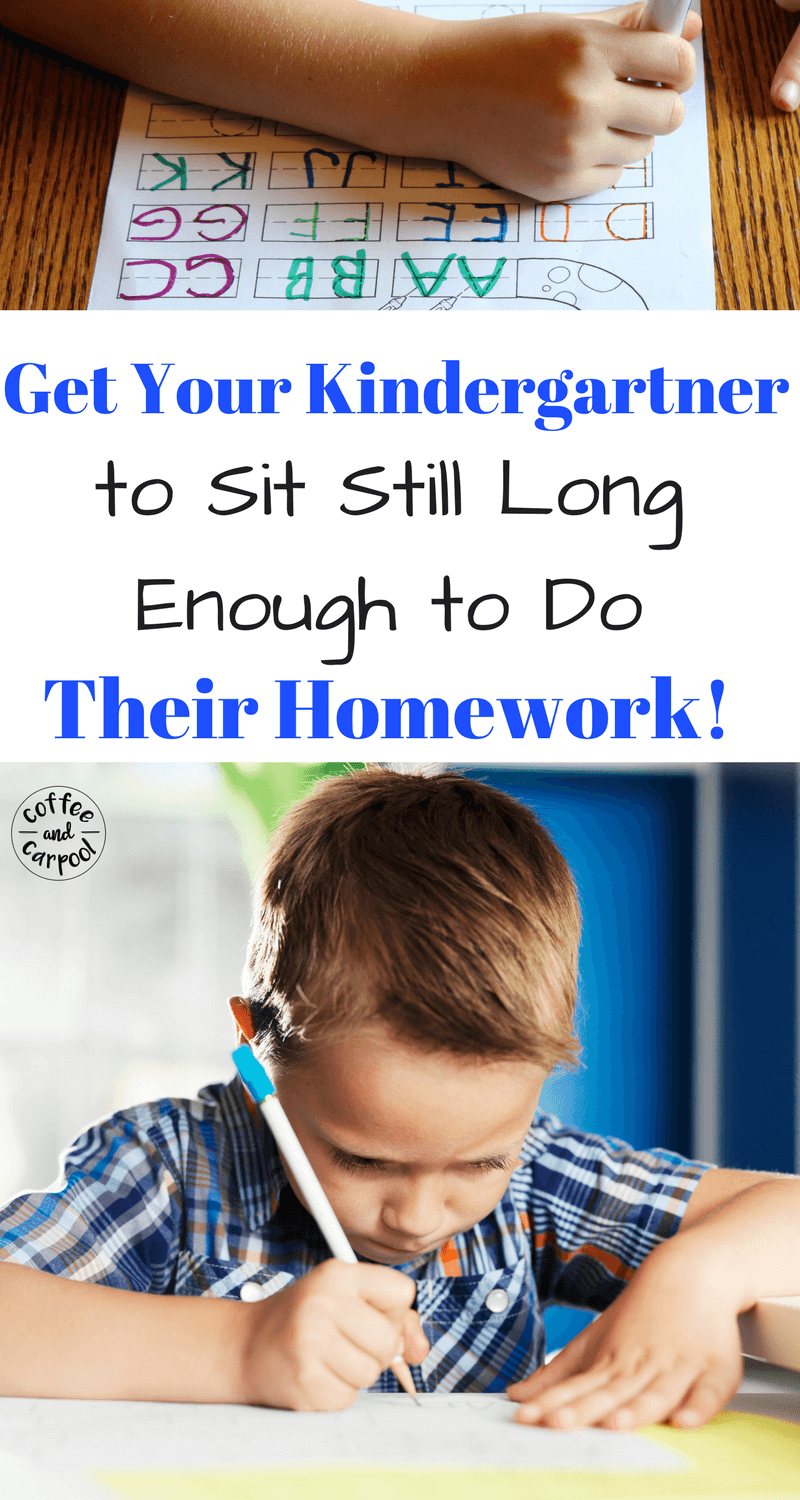 Kindergarteners often struggle with sitting still to do homework. These homework help tips will encourage our youngest students to finish their homework. www.coffeeandcarpool.com