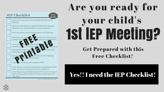 IEP Meeting Checklist for Parents. How to prepare for an IEP for your special needs child. #freeprintable #IEP #specialneeds #specialeducation #sped