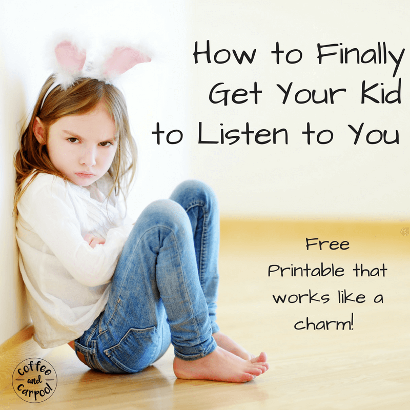 Getting our kids to listen the first time is most parents' goal. I love to say things one time and it happens. There's a magic trick I use that makes it happen! #freeprintable #parenting101 #momadvice #kidstolisten #coffeeandcarpool
