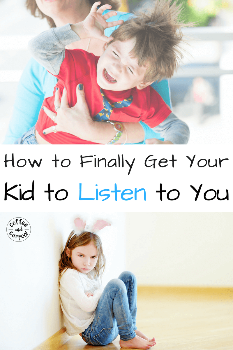 Are your kids not listening? Here's a simple trick to get kids to listen the first time you ask them with a free printable to help. www.coffeeandcarpool.com