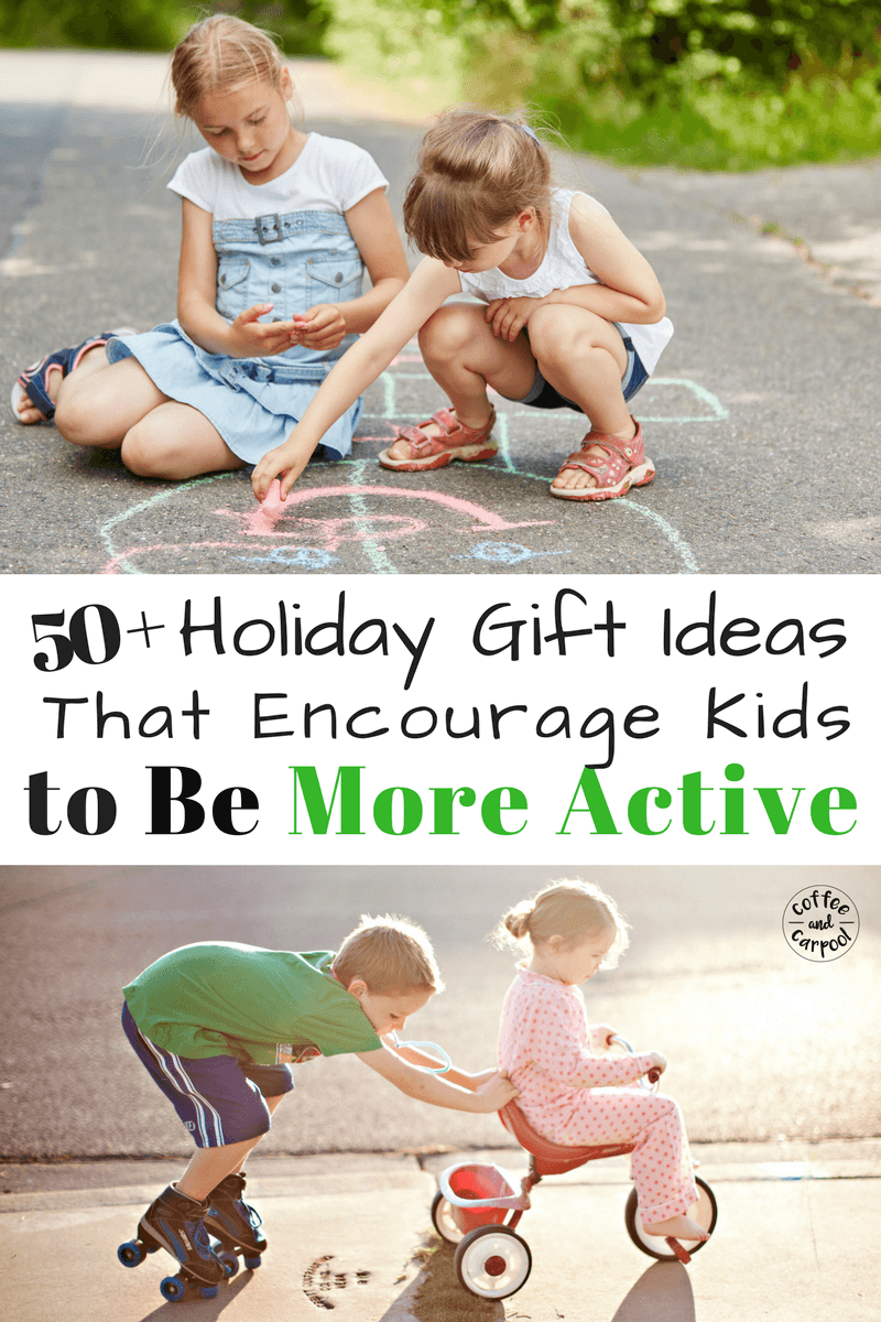 Want the perfect holiday gift to encourage kids to get outside and be more active? This list over 50 holiday gift ideas is what you need. #holidaygiftguide #giftsforkids #christmasgifts #kidschristmas