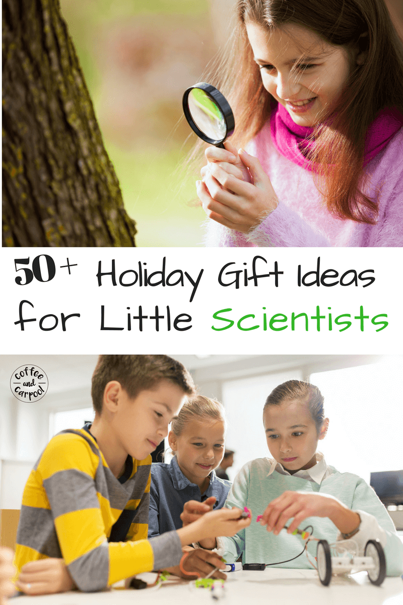 Does your kid love science? Or do you want them to love science more? Here are 50+ holiday gift ideas to encourage little scientists. #christmasgiftguide #giftideas #sciencegifts #scienceforkids #christmaskidsgiftguide