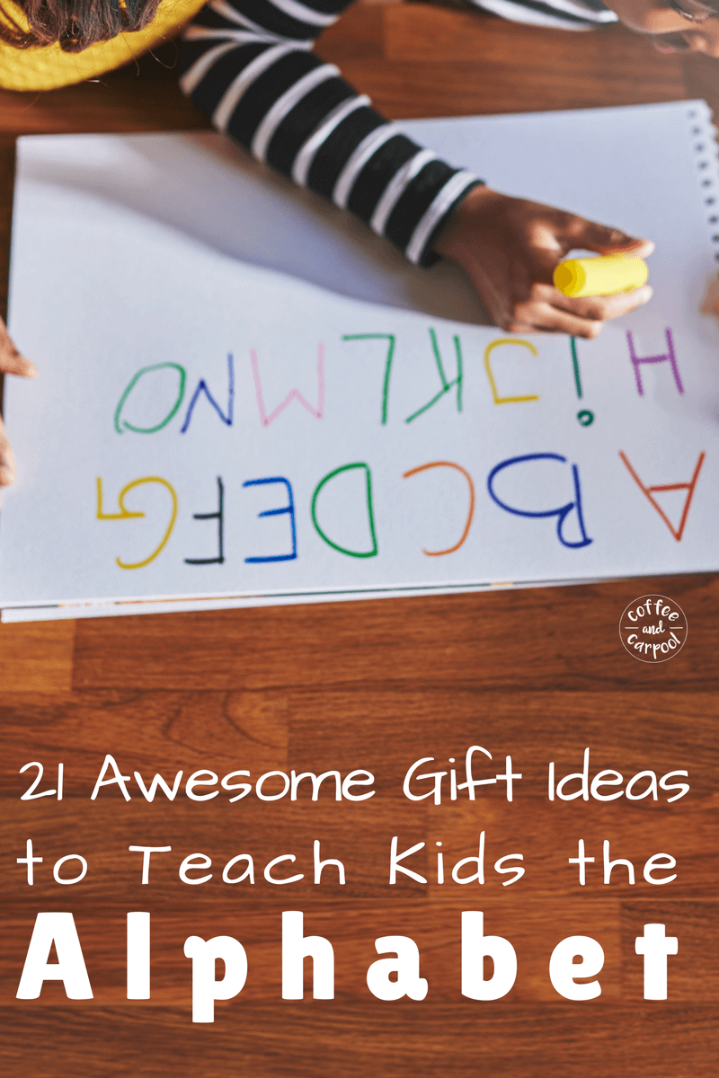 Want fun and simple ways to teach kids the alphabet? These awesome gift ideas are perfect for learning letters. www.coffeeandcarpool.com #holidaygiftideas #kidsgiftideas #kidsgifts #funalphabet #funlearning