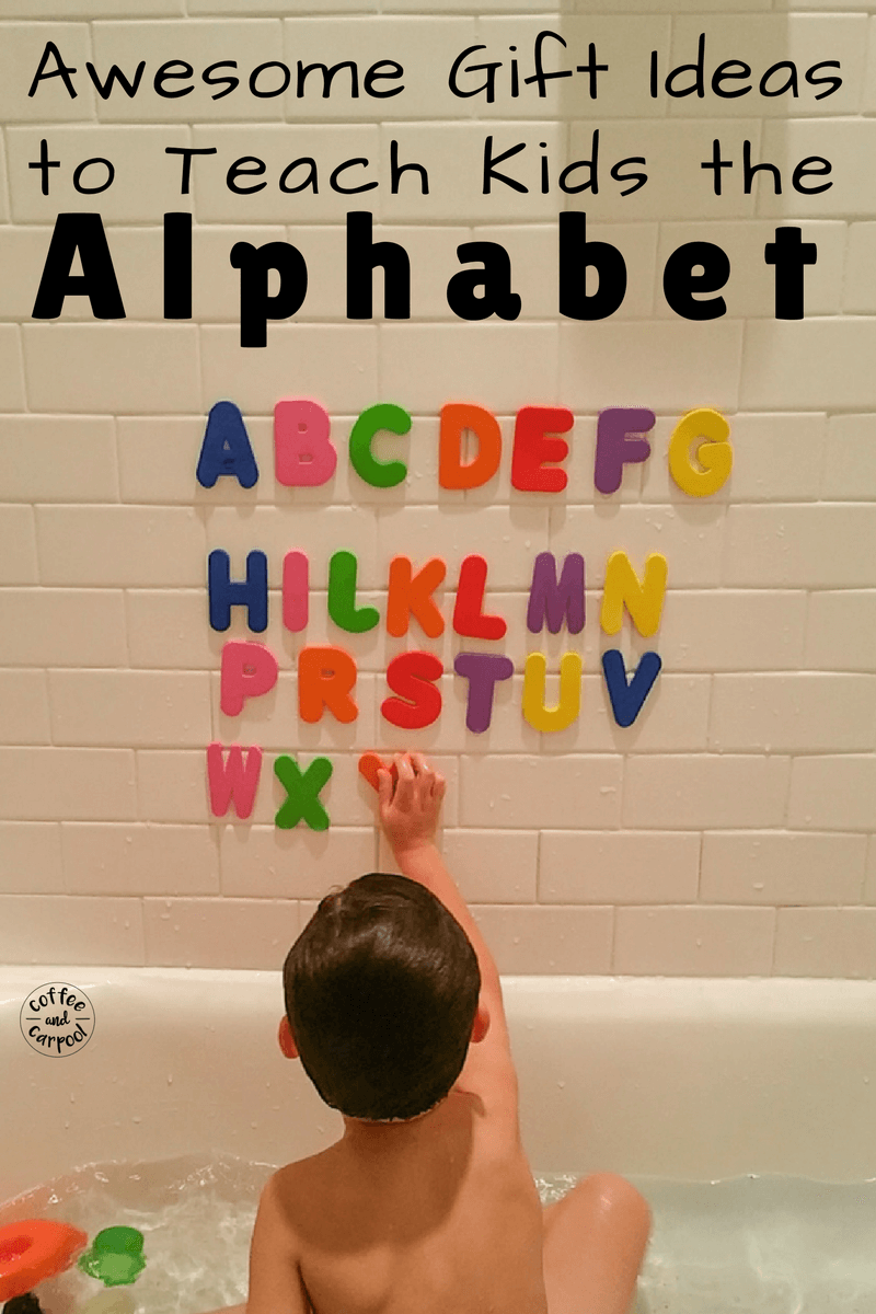 Need great gift ideas that teach kids the alphabet? Want fun and playful ways that kids can learn their abcs. These gift ideas are perfect. www.coffeeandcarpool.com #holidaygiftideas #kidsgiftideas #abclearning #funalphabet #funlearning