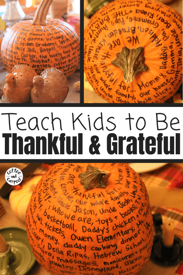 Encouraging gratitude is fun and festive with this Thanksgiving tradition of a gratitude pumpkin. Fill it out every November evening. It's a great family tradition to focus on gratitude. #gratitude #gratitudepumpkin #grateful #Thanksgivingidea #Thanksgivingtraditions #Thanksgivingforfamilies #Novembertraditions #coffeeandcarpool