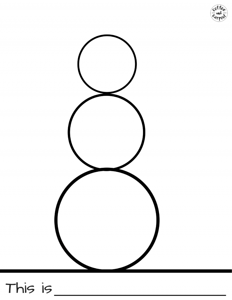 Use this blank snowman template with the snowman glyph art project. free printables at www.coffeeandcarpool.com #freeprintables #wintercraftproject #winterholidayparty #snowmanartproject