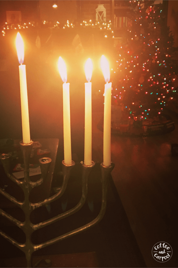 In our interfaith family, both our menorah and our Christmas tree are up at the same time. We celebrate it all together #interfaith #interfaithfamily #Hanukkah