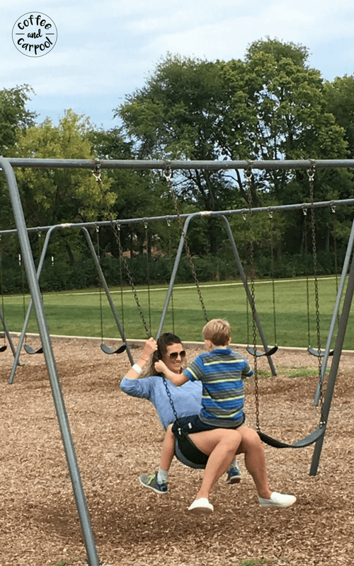 Be a sillier mom with these super fun ideas. Teach your kids how to spider swing with you at the park rather than sitting on the bench #park #swing #besilly