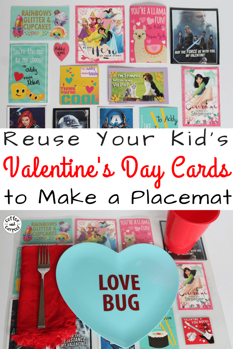 Valentine's Day Craft to reuse Valentine's Day Cards your kids bring home from school. Simple craft for kids to celebrate Valentine's Day #valentinesdaycraft #valentinesdaycraftforkids #valentinesday