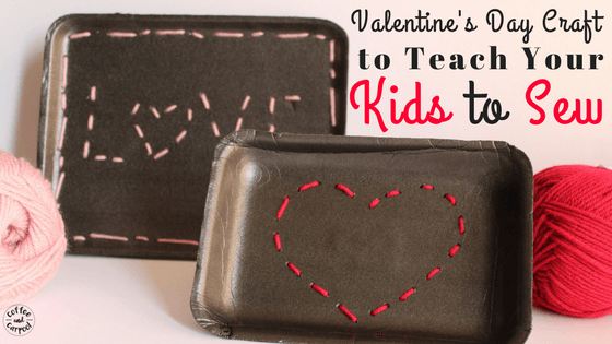 Teach your kids how to beginning sew with this simple Valentine's Day Craft for kids easy. Beginning sewing for kids can be simple and fun! #valentine'sdaycraft #valentine'sday #beginningsewing #kidscraft #coffeeandcarpool