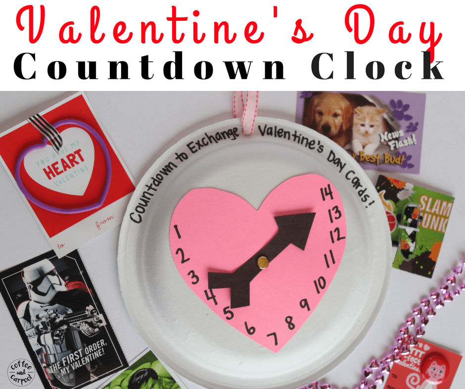 Make a Valentine's Day Countdown Clock craft to help get kids excited for Valentine's Day. #valentinesday #valentinesdaycraft