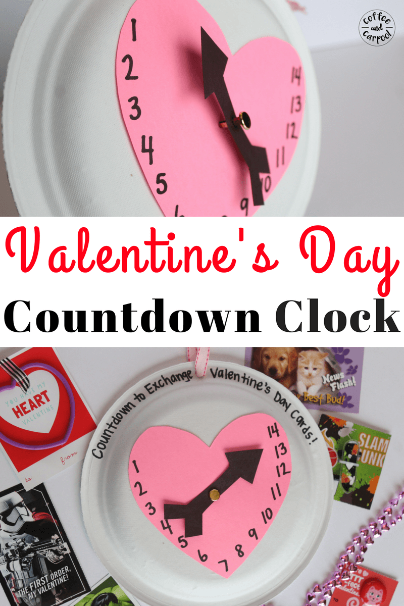 Valentine's Day Countdown Calendar craft for kids to get excited about Valentine's Day #valentinesday #valentinesdaycraft #valentinesdayideas #coffeeancarpool #valentinesdaycraftforkids