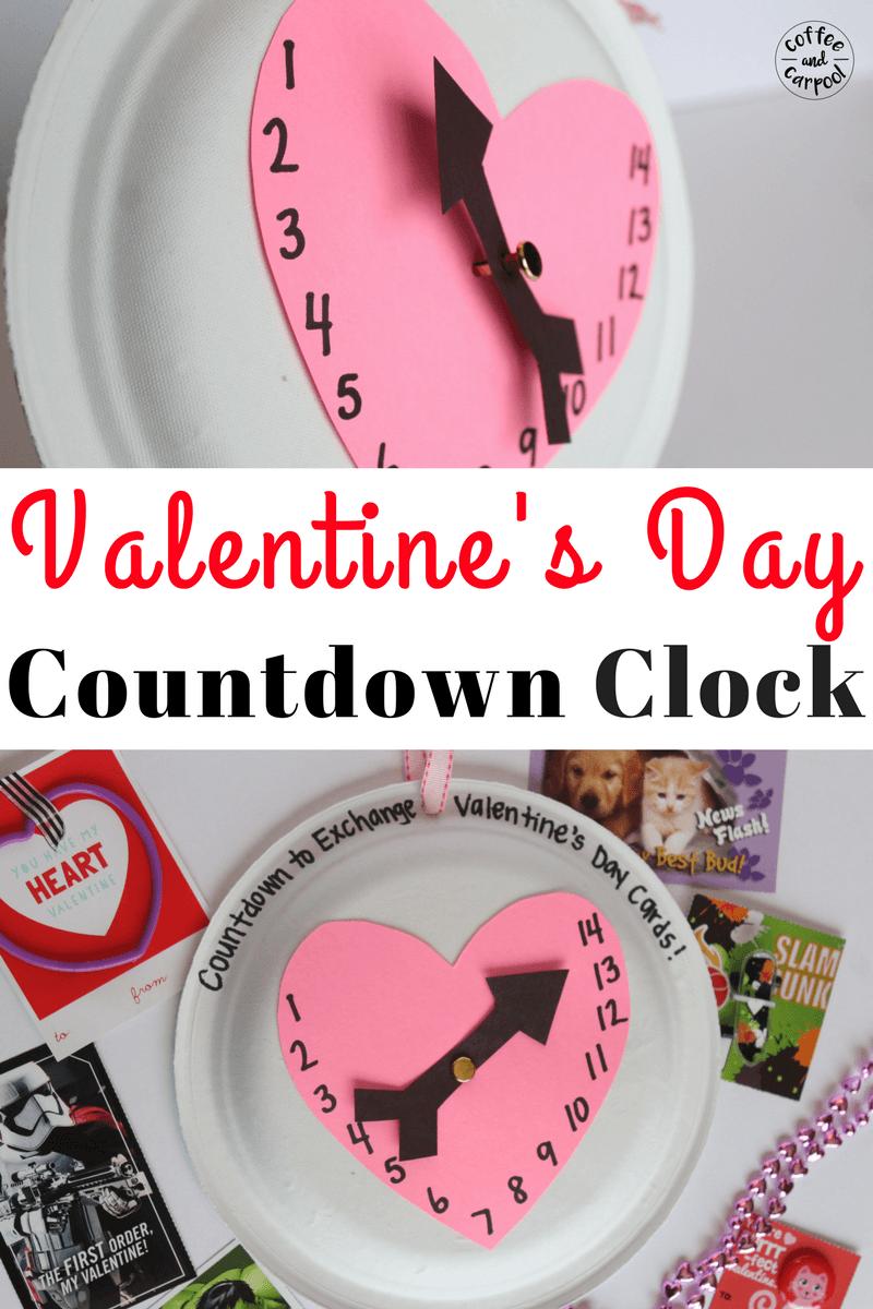 Valentine's Day Countdown Calendar craft for kids to get excited about Valentine's Day #valentinesday #valentinesdaycraft #valentinesdayideas #coffeeancarpool #valentinesdaycraftforkids