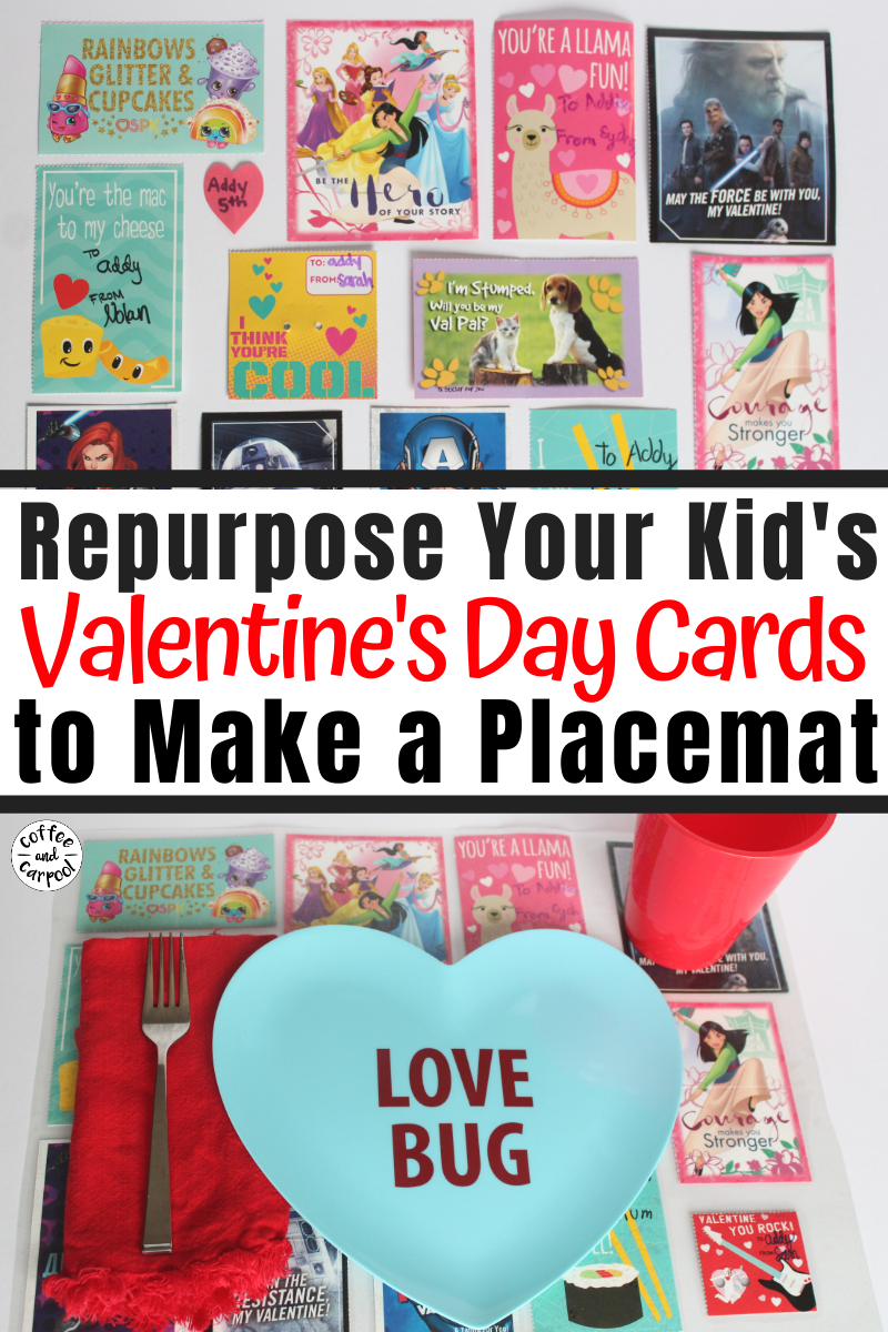 Simple and fun Valentine's Day Craft for kids to reuse their valentine cards they bring home from school. Keep on celebrating Valentine's Day with this cute placemat craft for kids. #valentinesday #valentinesdaycraft #valentinesdaycraftforkids