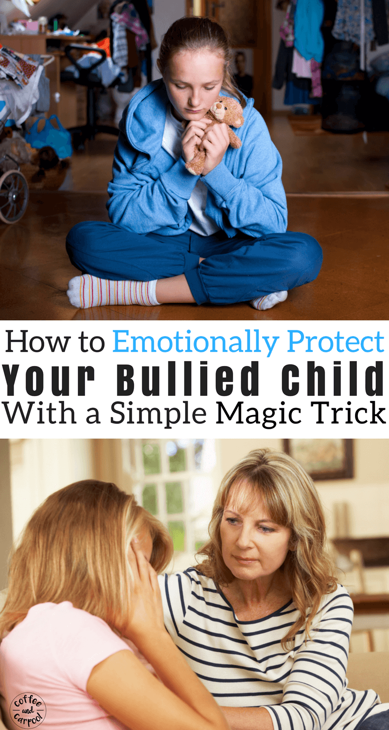 Emotionally protect your bullied child from bullying with this simple trick to get bullied kids to laugh again. #bullyprevention #bullying #bullies #endbullying #stopbullying