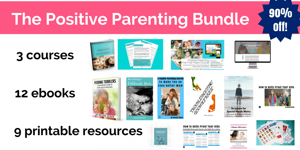 Positive Parenting Bundle with ebooks, courses and resources to make you a calmer, better more positive parent #positiveparenting #peacefulparenting