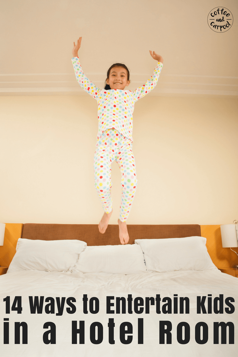 14 ways to entertain kids in a hotel room or motel room on a family vacation or family trip. #familyvacation #familytrip #entertainkids #hotelroom