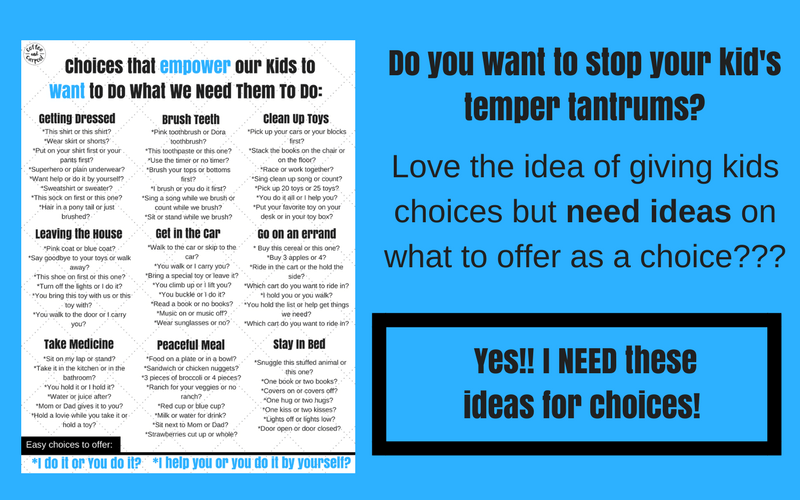 Get this free printable of ideas for giving kids choices so they feel empowered and don't feel the need to have a temper tantrum. #freeprintable #parentingtoddlers #parenting101 #coffeeandcarpool