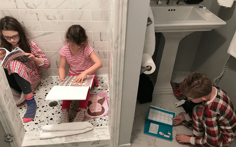 We always pack activity books for our kids and for early mornings we do them in the bathroom light. #familyvacations #familytrips