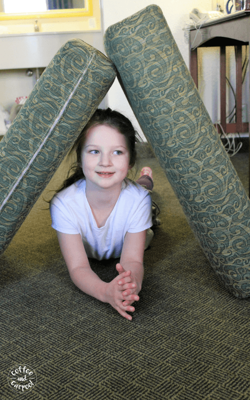 Use what's in the hotel room during a family vacation to create an obstacle course or have your kids create one #familyvacations #familytrips